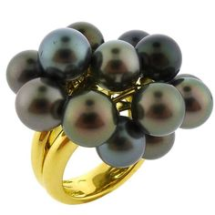 Tahitian Black Pearl Ring in Gold with 15 Moving Pearls | From a unique collection of vintage cocktail rings at https://www.1stdibs.com/jewelry/rings/cocktail-rings/