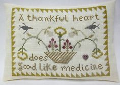 Thankful Heart Sampler  Cross Stitched Mini by luvinstitchin4u