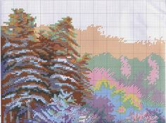 Winter River - 4 of 6 Cross Stitch Landscape, Cross Stitch Patterns, Christmas Stockings, Diagram, Create, Nature, Stocking Ideas, Landscapes, Snow