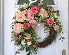 Spring Wreath-Summer Wreath-Hydrangea Wreath-Mother's Day Wreath Summer Wreath for Door-French Country Wreath-Wedding Wreath-Farmhouse Decor