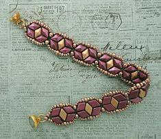 Linda's Crafty Inspirations: Bracelet of the Day: Tammy - Burgundy & Matte Gold