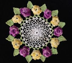 Vintage Doily Crocheted Roses 3 D Purple Yellow Green Leaves Cream
