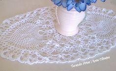 Tecendo+Artes+em+Crochet:+Caminho+de+Mesa+Branco