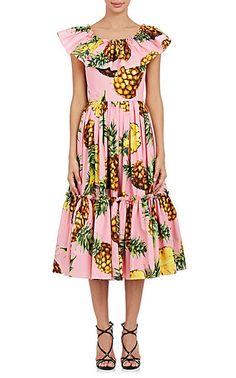Dolce & Gabbana Pineapple-Print Cotton Midi-Dress - Dresses - 504902886