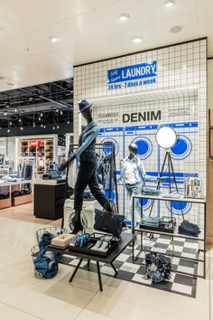 "DE BIJENKORF, Eindhoven, Maastricht, The Netherlands, ""Denim Self Serve Laundry-24 Hours-7Days a Week"", pinned by Ton van der Veer"