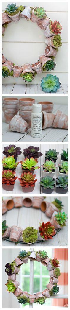 DIY krans met vetplantjes aan voordeur of aan de muur.