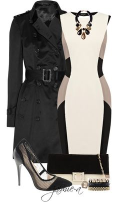 """Color Block Dress & Trench"" by jaimie-a ❤ liked on Polyvore"
