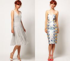 left: Dress with Applique Panel / right: Floral Bandeau Dress