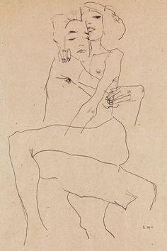 Egon Schiele Drawings, Funky Art, A Level Art, Alphonse Mucha, Couple Art, Art Plastique, Art Sketchbook, Figure Drawing, Art Inspo