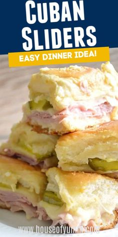 These Cuban sliders are loaded with ham, swiss cheese, and dill pickles, topped with a dijon mustard onion spread!  Super easy to make and definitely a crowd pleaser!! An easy to make sliders recipe! Slider Recipes, Wrap Recipes, Pork Recipes, Crockpot Recipes, Vegan Recipes, Cooking Recipes, Yummy Appetizers, Appetizer Recipes, Amigurumi