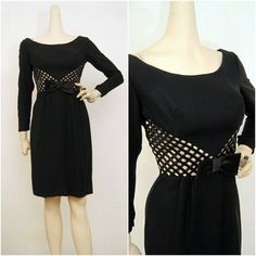50s 60s Illusion Waistline Cocktail Dress