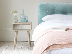 We have a super range of bedside tables. From French style, solid oak, gorgeous painted ones and metal bedside cabinets. White Bed Sheets, White Bedding, Pleated Curtains, Curtains With Blinds, Mid Century Legs, Wooden Bedside Table, Bedside Tables, French Bed, Comfy Sofa