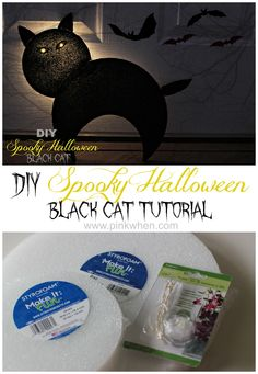 DIY Halloween Crafts - Spooky Black Cat with Glowing eyes from Styrofoam! #Halloween #Black_Cat #Crafts #DIY