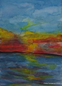 Galway Bay Sunset by Fiona Concannon on ArtClick. Watercolour Painting, Giclee Print, Presents, Sunset, Antiques, Artist, Ireland, Landscapes, Paintings