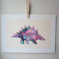 Stegosaurus giclee print + pp Kidsroom, Creative Art, Kids Bedroom, Etsy Store, A4, Giclee Print, Moose Art, Original Art, Creatures