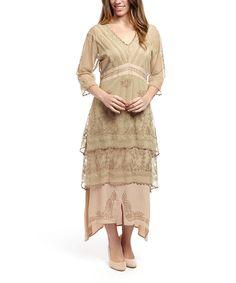 ab7a5793ab55 Look at this  zulilyfind! Nataya Sage   Peach Embroidered Overlay Maxi  Dress - Women   Plus by Nataya  zulilyfinds