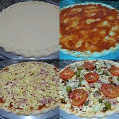 A Receita de Pizza Fácil é mais uma criação deliciosa do Chef Fábio Neiva. A massa é prática e feita com os ingredientes que você tem em casa. O recheio su Solo Pizza, Easy Cooking, Cooking Recipes, Mini Pizzas, Pasta, Calzone, Indian Food Recipes, Nutella, Bacon