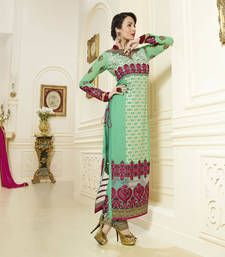 Buy Green embroidered georgette semi stitched salwar with dupatta party-wear-salwar-kameez online