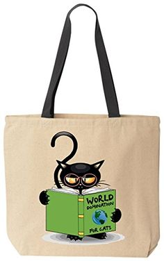 World Domination For Cats - Funny Cat Lover Canvas Tote Bag by BeeGeeTees® for Grandma's Kitty Rescue >>> Read more reviews of the product by visiting the link on the image.