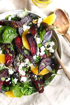 Roasted beetroot salad with feta, walnuts and a mustard, orange dressing. A tasty healthy salad perfect for lunch or dinner. Veggie Recipes, Whole Food Recipes, Salad Recipes, Vegetarian Recipes, Cooking Recipes, Healthy Recipes, Beetroot And Feta Salad, Beetroot Recipes Salad, Salad Presentation
