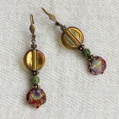 beaded pierced earrings  unique exotic fall by ThisArtOfMineUS, $19.00