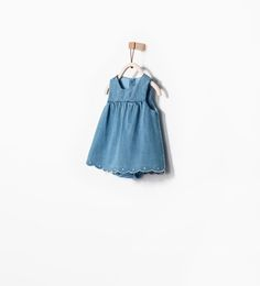Image 1 of DENIM DRESS WITH EMBROIDERED HEM from Zara