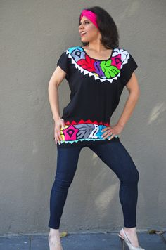 M L Vibrant Mexican Multicolor Hand Embroidered by Vtgantiques