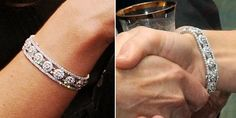 We have seen the jewelry before, both the diamond bracelet and earrings have been worn on multiple occasions. Below we show the bracelet as worn in October of 2012 for the Olympic Athletes reception at Buckingham Palace, the photo on the right is from an In Kind Direct reception and dinner in October of 2011.