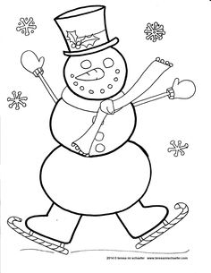 Day 15 #ChristmasColoringCountdown    A silly snowman skates in the snow. www.teresamischaefer.com
