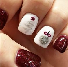 Winter nails Xmas nails Fun designs for manicures Mani/pedi xmas nail art - Nail Art Xmas Nail Art, Cute Christmas Nails, Holiday Nail Art, Xmas Nails, Winter Nail Art, Fun Nails, Winter Nails, Christmas Ideas, Red Christmas