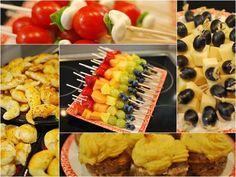 Sommer Party Rezepte: Regenbogen Fruchtspieße, Käse-Traubenspieße, Italienische Spießchen, Hackfleisch Muffins mit Kartoffeltopping, Gazpacho, Taboulé