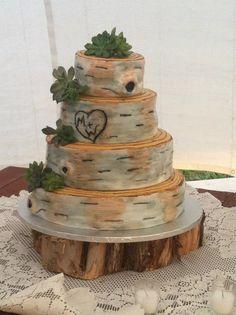 Rustic Birch Bark Wedding Cake - Fondant Birch Bark Wedding Cake - like this with the succulents
