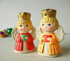 Vintage Christmas Angel Candle Holders Japan Paper Mache by PeppermintBark