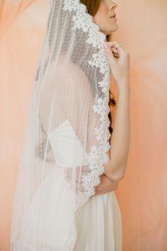 This is my gorgeous point d'esprit mantilla veil by SmithaMenonbridal, $90.00