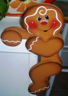 Hand Painted Gingerbread Door Huggers by stephskeepsakes on Etsy, $12.99
