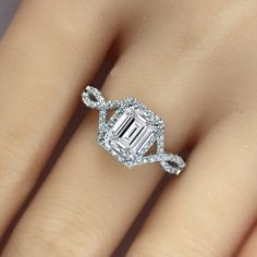 Emerald Cut Twisted Engagement Ring with 925 Sterling Silver for Women
