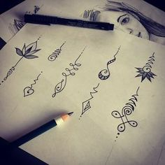 Unalomes - You go through all of the complications and hardships of life (the twists and curves of the tattoo design) and eventually come out a changed person on a clear path. These are very simple. I like the more complex ones because I think they are better representations of me and my life.