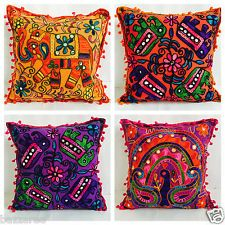 Indian Suzani Ethnic Vintage Cushion Cover Covers Embroidery Mirror Animal 16x16