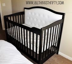 Love this padded black crib - very sophisticated