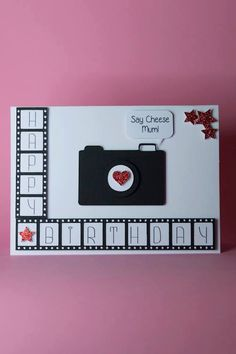 Handmade Camera with film photography birthday card. Ideal for any photographers birthday! Card Size: 7″x 5″ Blank Inside Envelope included Please allow 14 days for delivery to the USA. Like us on Facebook www.facebook.com/Tangledcrafts to see new products and special offers