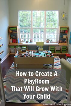 DIY home decor projects : Tips from a child psychologist on creating a playroom that will grow with your child. She also discusses essential play areas all playrooms should have. All on a budget– everything is from Ikea and Target! -Read More – Playroom Design, Playroom Decor, Playroom Layout, Playroom Colors, Playroom Seating, Playroom Shelves, Modern Playroom, Toddler Playroom, Toddler Playground