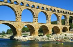 Pont du Gard in Nimes, France Ancient Roman aqueduct Le Gard, Pont Du Gard, Rome History, Ancient History, Roman Architecture, Ancient Architecture, Beautiful Architecture, Carthage, Architecture Romaine
