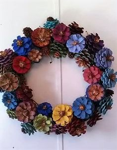 Multi Colored Pine Cone Wreath,Rustic Farmhouse Wreath,Country Wreath,Painted Pinecone Wreath,Pine Cone Wreath,Colorful Wreath