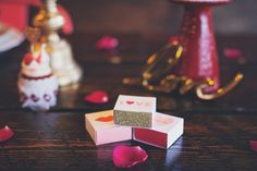 Glittering love-themed matches make a fun wedding favour. Best Wedding Favors, Wedding Ideas, Party Stores, Match Making, Party Supplies, Valentines Day, Match Boxes, Romantic, Engagement