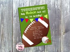 Football Birthday Invitation - Printable PDF File- Football Party - Sports Birthday - Printable or Printed for You with Envelopes by CreativePartyDesigns on Etsy
