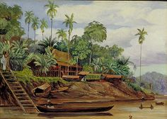 Large Country Scene Paintings | ... Marianne North Gallery: Painting 607: River Scene at Sarawak, Borneo