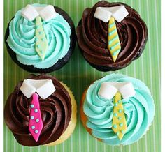 Cute & Sophistocated Shirt & Tie Cupcakes from Cupcakes Take the Cake dad day ideas, gifts for dad ideas, gift ideas for grandpa Cupcakes Bonitos, Cupcakes Decorados, Fathers Day Cupcakes, Fathers Day Cake, Cake Pops, Yummy Cupcakes, Cupcake Cookies, Man Cupcakes, Baby Cupcake