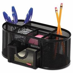 Rolodex Mesh 4 Compartment Steel Organizer, Black (ROL1746466)