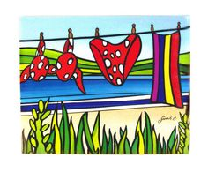 Sarah C Art Block : Bikini on the Beach Sarah C, New Zealand Art, Kiwiana, Water Tank, Garden Art, Design Ideas, Paintings, Decorating, Art Prints
