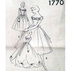 Prom dress sewing pattern Simplicity 1950s dress 1770 by Tigrisa